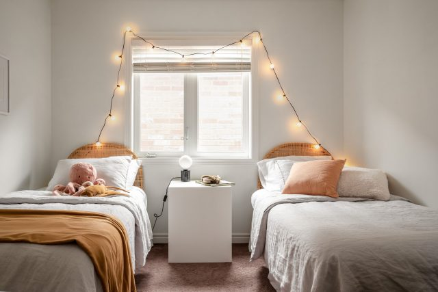 kids twin bedroom staged